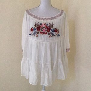 NWT! Free People XS ivory embroidered mini dress